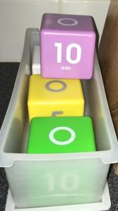 Datexx TimeCube timers, white, purple, yellow & green
