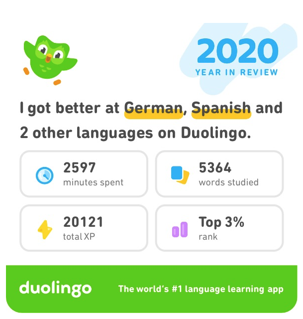 DuoLingo 2020 Year in Review analysis