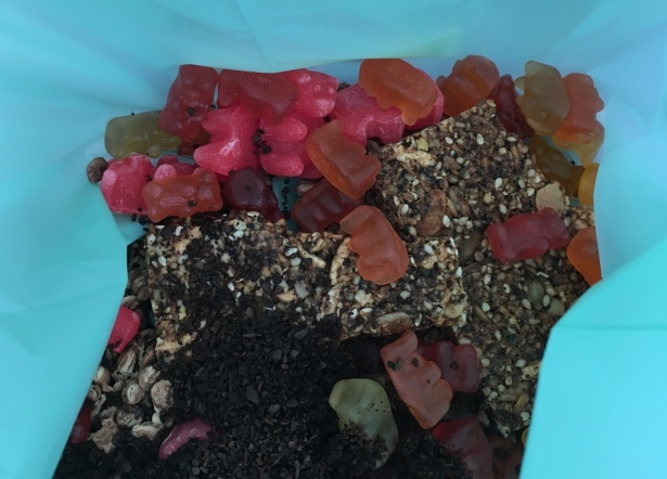 food in kitchen compost pail including gummy bears, coffee grounds, oatmeal, and seeds