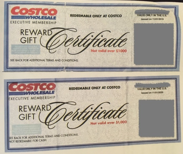 Costco Wholesale club Executive Membership Reward Gift Certificates dated 11/01/2019 and 11/01/2020