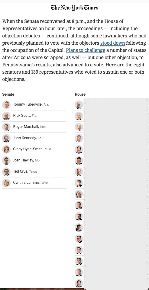 Screenshot from NYT article listing 8 Senators and 139 Reps who objected to Nov 2020 electoral votes for president