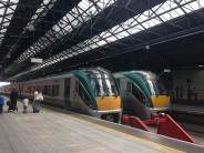 two trains in Dublin's Connolly Station