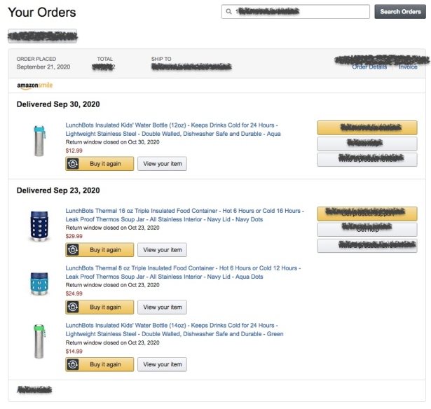 Amazon invoice for LunchBots order including Thermal food jar and insulated stainless steel water bottle