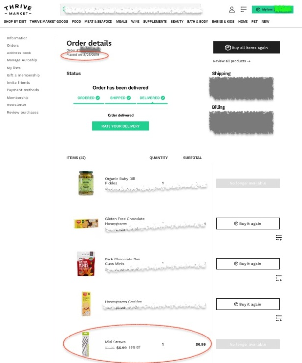 Thrive Market order detail page showing Mini Straws at $6.99 in 8/2019