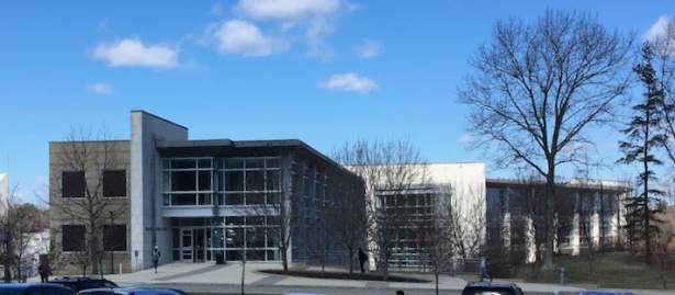 View of community college building on campus