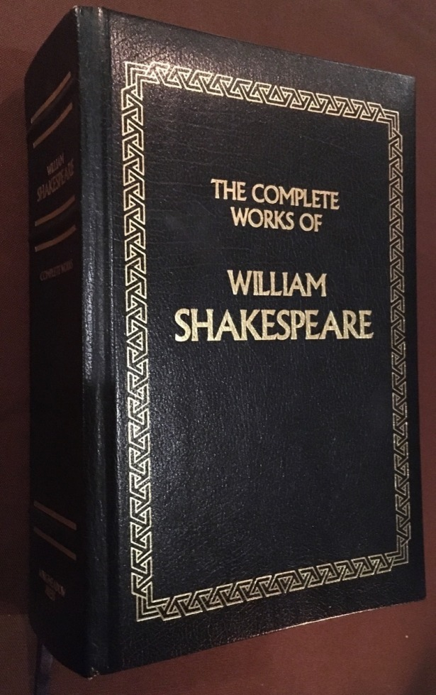 Book cover, leatherbound Complete Works of William Shakespeare