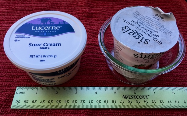 8 oz Lucerne sour cream tub shown next to similar sized Weck 1/5 Mold Jar 740 with a yogurt cup inside of that for comparison