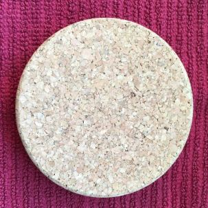 Weck canning jar lid in cork, top view