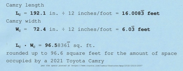 math working out square footage of Toyota Camry
