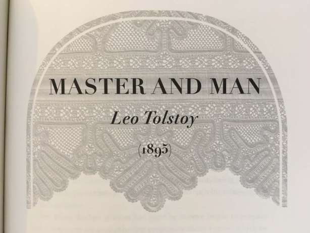 Section heading for Tolstoy's Master & Man (1895) from the book A Swim in the Pond in the Rain