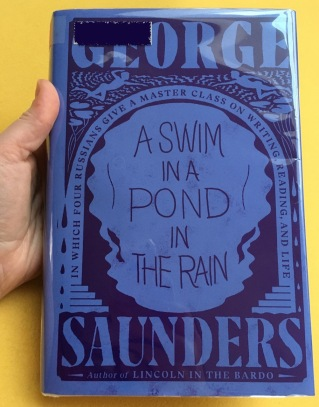 cover of library hardback copy of A Swim in a Pond in the Rain