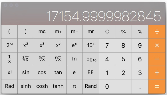 Screen shot of calculator