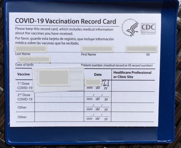 Redacted official CDC COVID-19 Vaccination Record Card