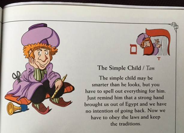 Page view from Haggadah describing The Simple Child