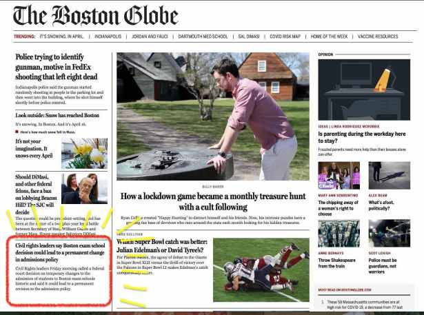 Boston Globe online edition with Civil Rights suit article circled