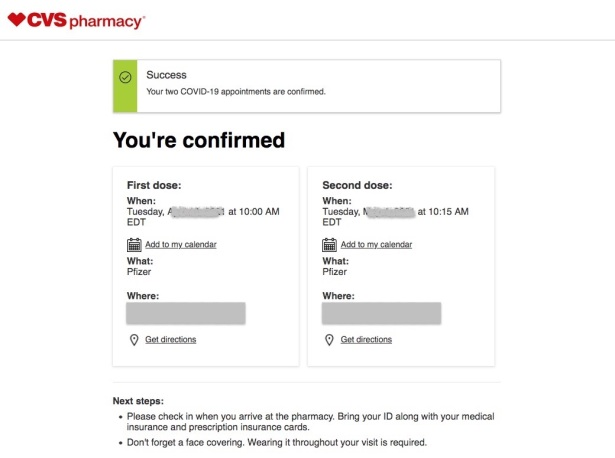 Screen shot of COVID vaccine appointments confirmed at CVS Pharmacy