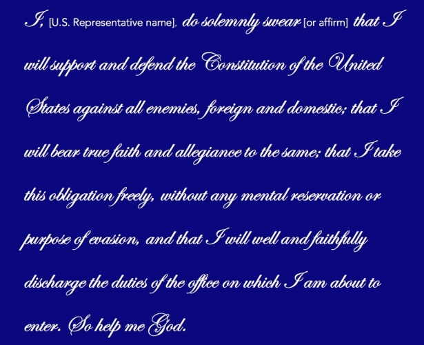 Reproduction of the oath of office by which new United States congresspeople are sworn in