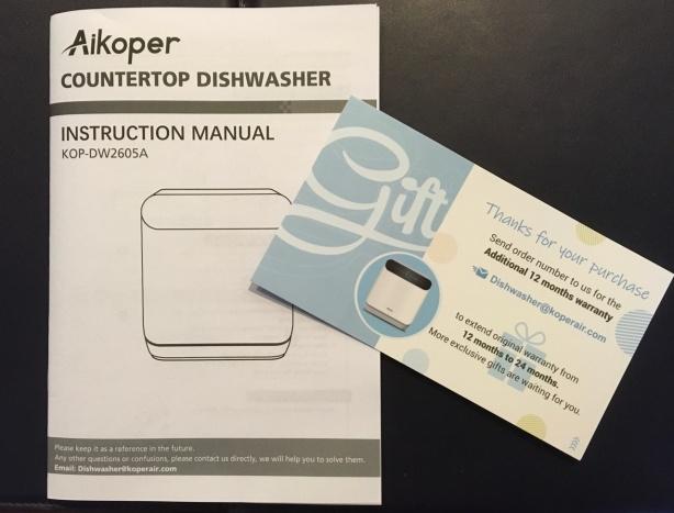 Countertop dishwasher manual and warranty card