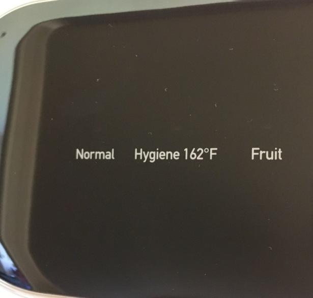 compact dishwasher settings shown: Normal, Hygiene 162 F, Fruit