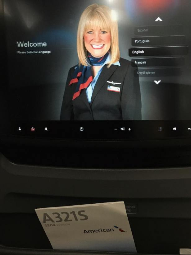 AA entertainment welcome screen above pocket with A321S safety card visible