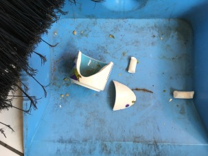 shards of decorated ceramic in dustpan next to broom