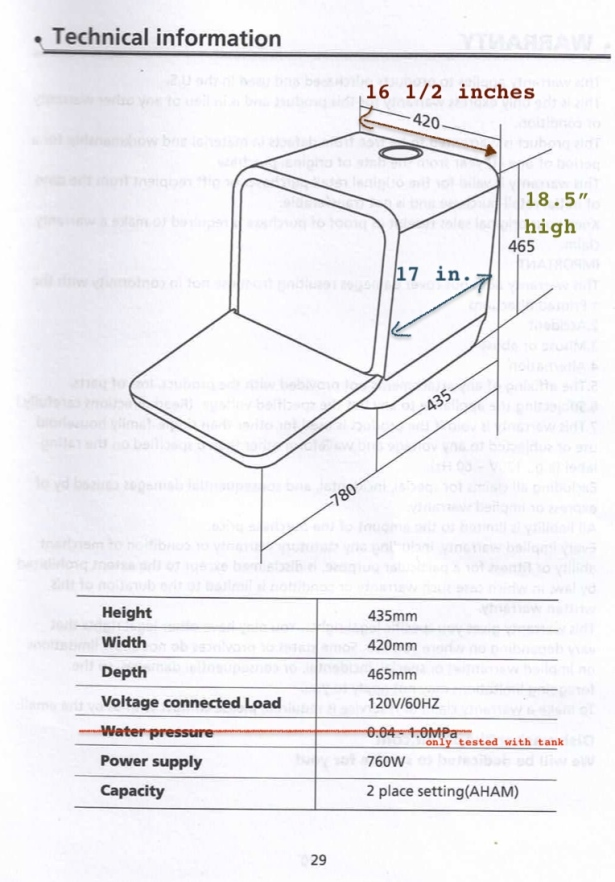 Scanned manual page showing my measurements in imperial units