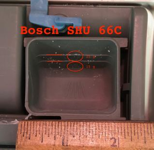 Image of Bosch detergent well with 15 and 25 g lines highlighted