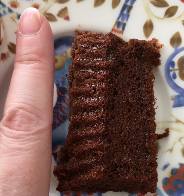 Sun oven baked mini chocolate cake about two fingers wide and a finger long