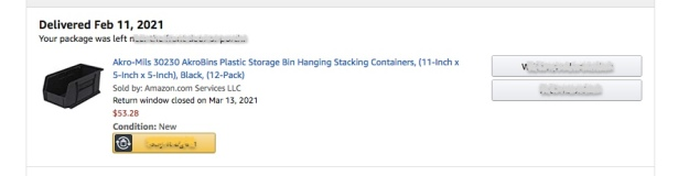 Excerpt from Amazon.com invoice for a dozen Akro-Mils 30230 plastic containers sold for $53.28