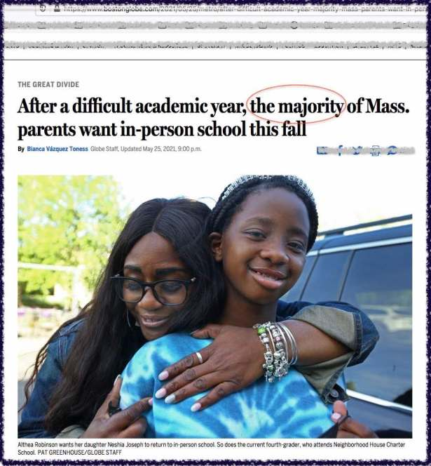 """Boston Globe article headline with """"the majority"""" highlighted by this blogger"""
