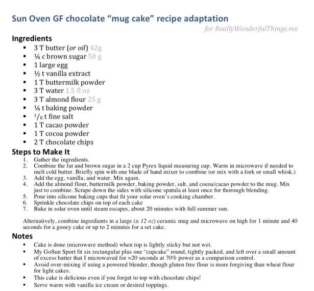 Picture view of solar baked cake recipe